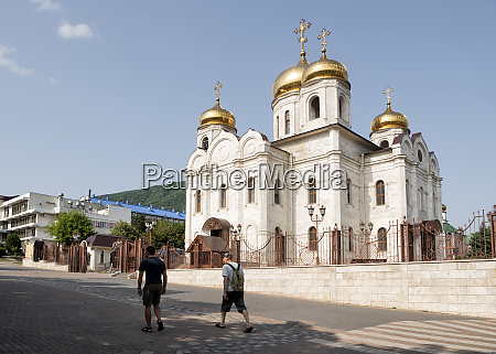 russia upper baksan valley tourists in