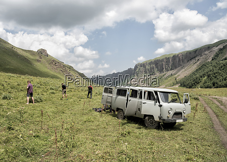russia upper baksan valley tourists taking