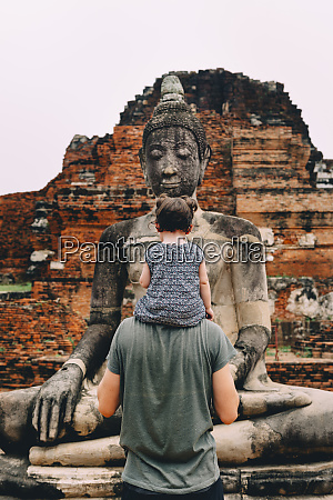 thailand ayutthaya father and daughter looking