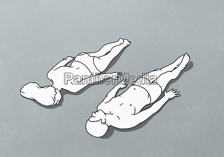 female figure lying face down next