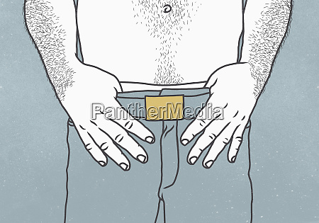midsection of shirtless man with thumbs