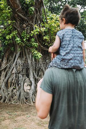 thailand ayutthaya father and daughter visiting