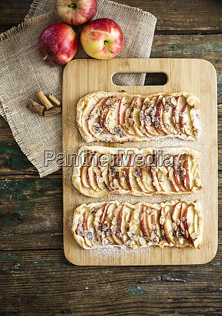 home baked apple pie on wooden