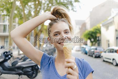 netherlands maastricht portrait of happy blond