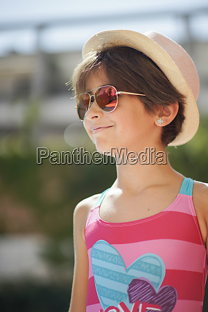 portrait of young girl with sunglasses