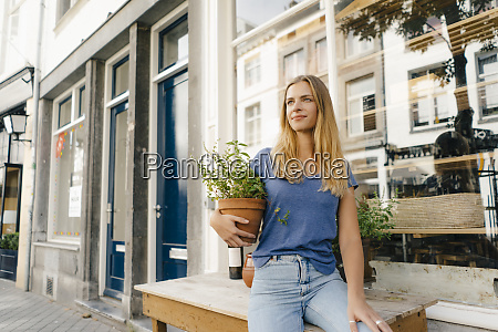 netherlands maastricht blond young woman holding