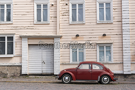 finland porvoo red vintage car in