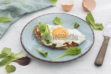 gebratenes ei auf scheibe braunes brot