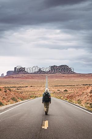 usa utah man with backpack walking