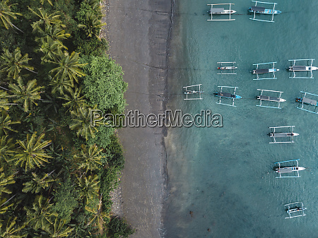 indonesia bali aerial view of banca