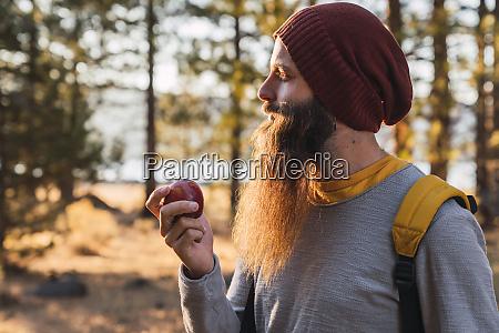 usa north california bearded man eating