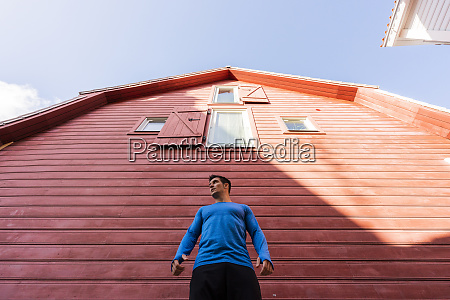low angle view of athlete standing