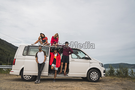 friends traveling through norwegian lapland with
