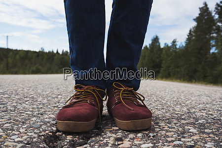 finland lapland feet of man standing