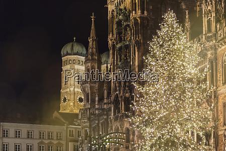 germany munich bright shining christmas tree