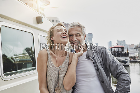 happy older man and young woman