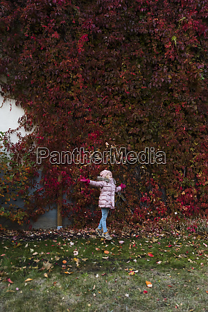 girl throwing autumn leaves in the