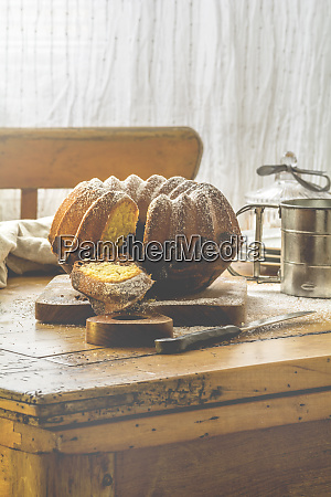 marble cake on wooden board and