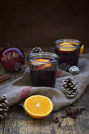 two glasses of mulled wine with