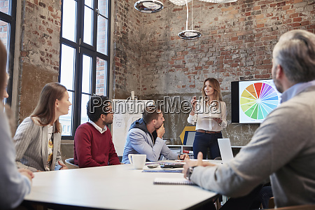 businesswoman holding strategy presentation for colleagues