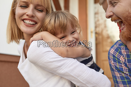 close up of happy family in