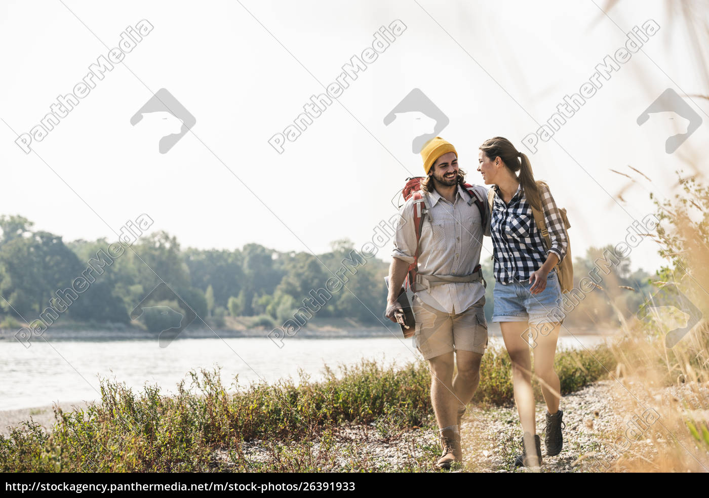 happy, young, couple, with, backpacks, and - 26391933