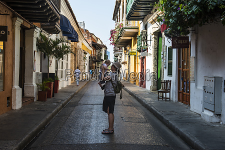 colombia cartagena old town mother holding