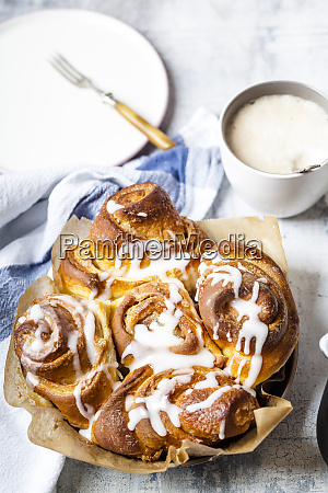 tray of home baked cinnamon buns