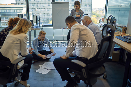 business team having a workshop in