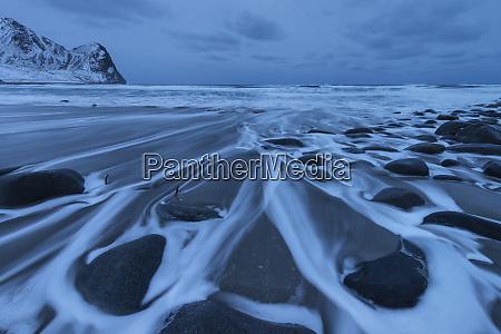 scenic landscape of rocks on beach