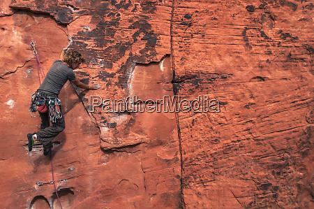 rear view shot of adventurous man