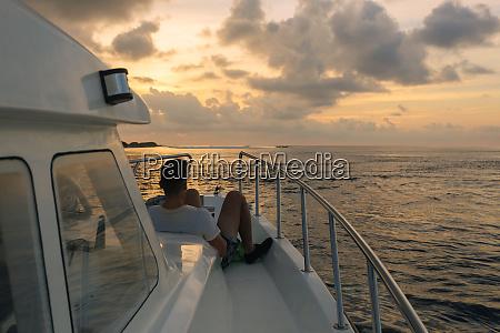 rear view of single male tourist