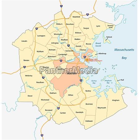 vektorkarte der metropolregion greater boston massachusetts