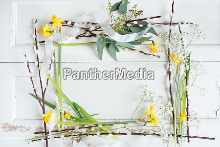 floral decoration on white vintage table