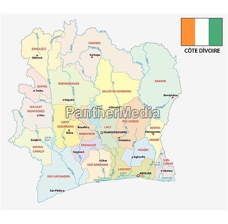 ivory coast administrative and political vector