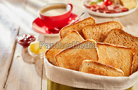 fresh crunchy toasts in bag served