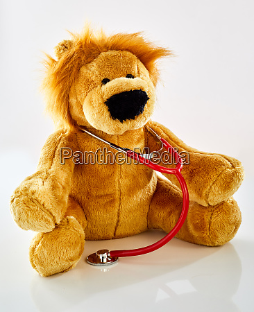 plush toy lion doctor with stethoscope