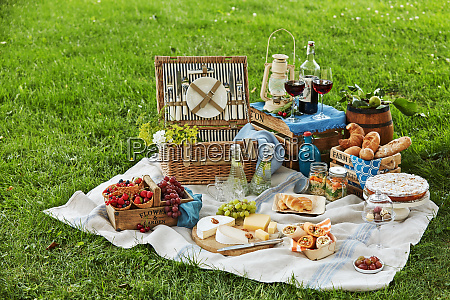 gourmet picknick mit wein und dessert