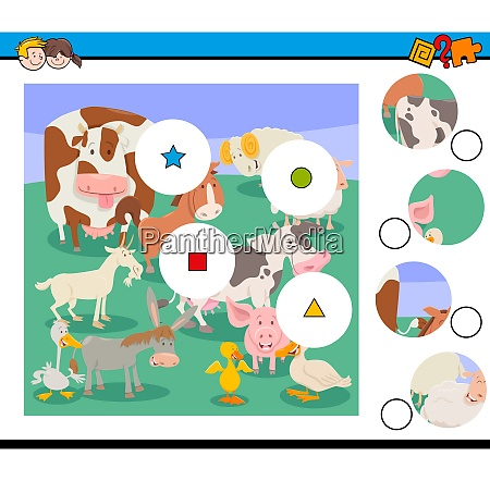 match pieces puzzle with farm animal