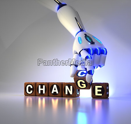 cyborg robot hand changes text cube