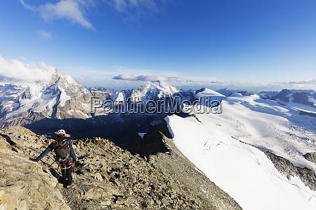 climber on south ridge of dent
