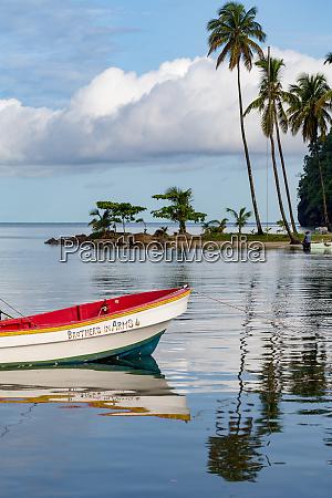 traditional fishing boat moored at marigot