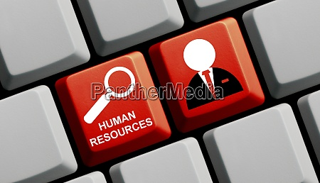 red computer keyboard human resources