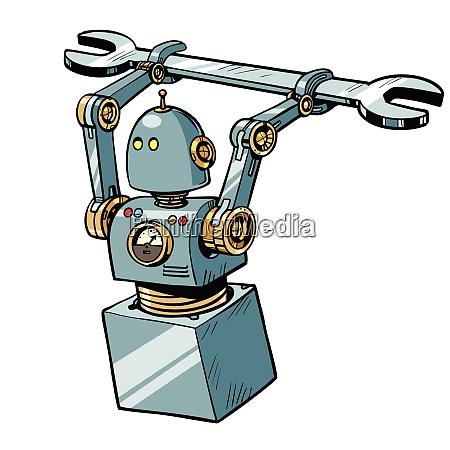 roboter mit einem schraubenschluessel