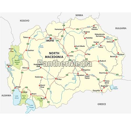 nordmakedonia strasse und nationalpark vektorkarte