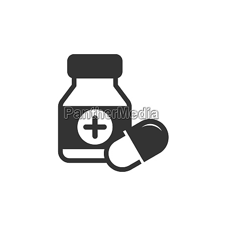 medicine bottle and pills icon