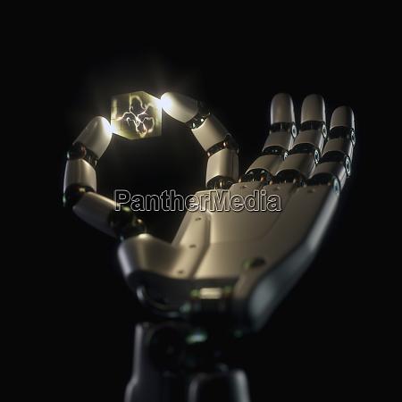 robot hand artificial intelligence neuron inside