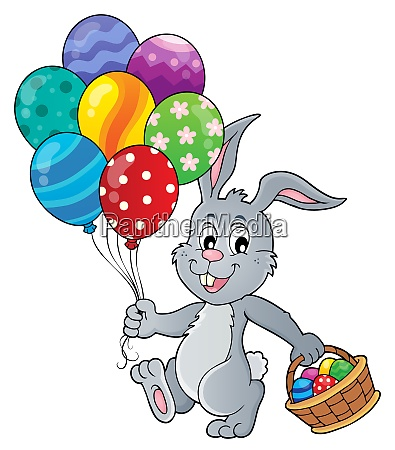 easter bunny with balloons image 1