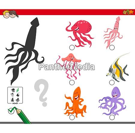 shadows game with cartoon sea animal