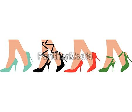 vier schoene weibliche beine in schuhen